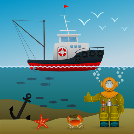 underwater fishes: Fisherman s ship in the open sea. Diver under water on the seabed. Sea inhabitants and the lost anchor. Cartoon image. Vector illustration.