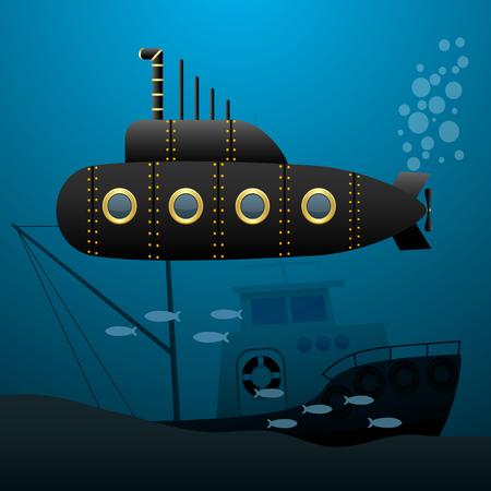 Black submarine sails underwater. Sunken ship on the seabed. Cartoon image. Vector illustration. Illustration