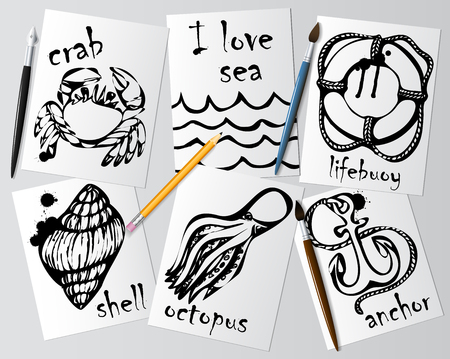 autograph: Graphic drawings of marine animals made with black mascara on white paper. Illustration