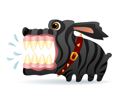 Very angry black dog. Cartoon character. Vector Image.