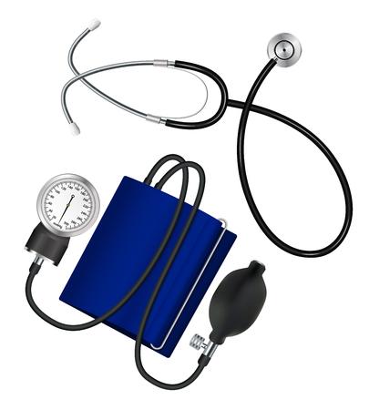 Phonendoscope and tonometer. Set Medical instruments for measuring blood pressure and pulse. Vector illustration.