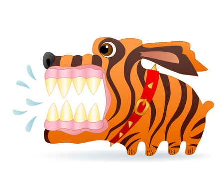 Angry dog. Cartoon character. Vector Image.