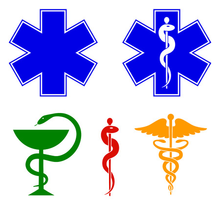 Medical international symbols set. Star of life, staff of Asclepius, caduceus, bowl with a snake. Vector Standard-Bild