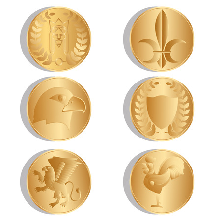 king s: Golden ancient coins. Isolated. White background. Vector Illustration