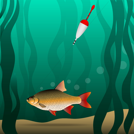Fishing. Under the water. The fish grabbed the bait and pulls the fishing tackle. River bottom and algae. Illustration