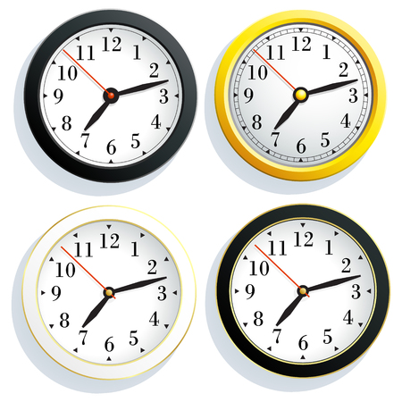 simple frame: Set round wall clock with a yellow, black and white body, isolated on white background.