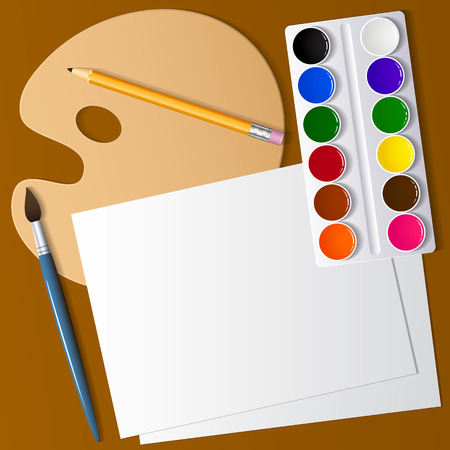Drawing and creativity. Artistic appliances on the desktop. Watercolor paint, brushes and white paper. View from above . Background image. Vector illustration.