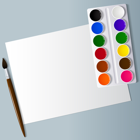 sheet of paper: Drawing and creativity. Artistic appliances on the desktop. Watercolor paint, brushes and white paper. View from above . Background image. Vector illustration.