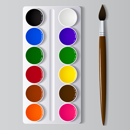 Watercolor paints in a box with a brush. Vector illustration Stock Illustratie
