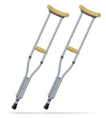 luxacion: Muletas Objetos médicos realistas. Tratamiento y rehabilitación de personas con lesiones en las piernas. Ilustración del vector.