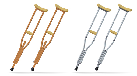 Crutches metallic annd wooden set. Medical realistic objects. Treatment and rehabilitation of people with leg injuries. Vector illustration.