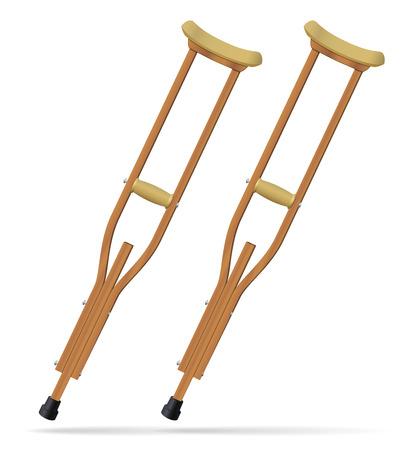 Muletas Objetos médicos realistas. Tratamiento y rehabilitación de personas con lesiones en las piernas. Ilustración del vector.
