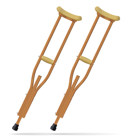Crutches. Medical realistic objects. Treatment and rehabilitation of people with leg injuries. Vector illustration.