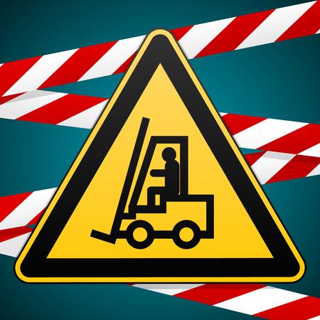 Safety sign. Caution - danger Autoloader. High-risk zone. Barrier tape. Vector illustration