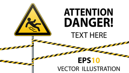ice slide: Caution - danger Beware of slippery. Safety sign. The triangular sign on a metal pole with warning bands. White background. Vector illustration.