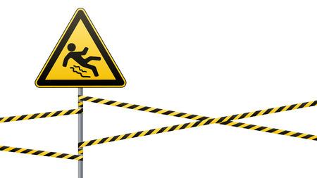 Vorsicht - Gefahr Vorsicht vor rutschigem. Sicherheitsschild. Das dreieckige Schild auf einem Metallpfosten mit Warnbändern. Weißer Hintergrund. Vektor-Illustration.