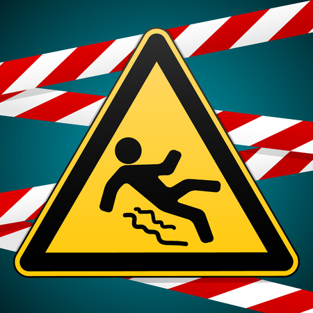 slip homme: Caution - danger Beware of slippery. Safety sign. Warning triangle and crossing warning bands. Industrial design. Vector illustration. Illustration