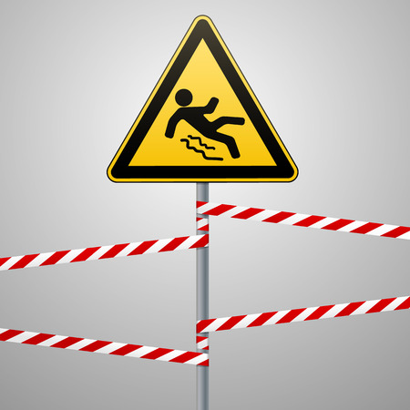 ice slide: Caution - danger Beware of slippery. Safety sign. The triangular sign on a metal pole with warning bands. Gray background. Vector illustration.