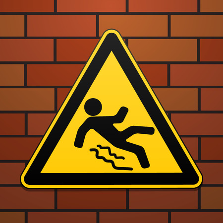 dangerous man: Caution - danger Beware of slippery. Safety sign. The triangular sign on a brick wall. Industrial design. Vector illustration. Illustration