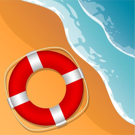 Lifebuoy on the beach. Beach, sea and sand. Vector illustration