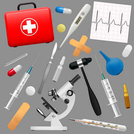 pharmaceutics: Set of medical instruments and preparations. First Aid Kit and its contents. Medicine and health. Vector illustration.