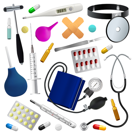 enema: Medical instruments and preparations set. Medicine and health. Isolated objects. White background. Vector illustration.