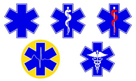 Medical international symbols set. Star of life, staff of Asclepius, caduceus, Vector illustration. Çizim