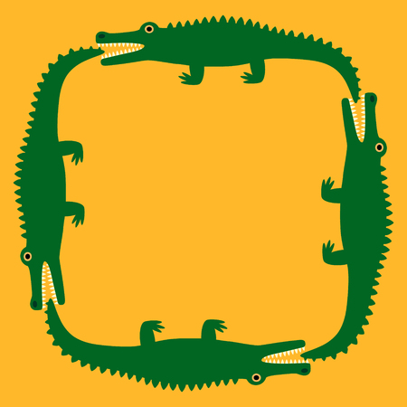 Background of the crocodile. Decorative pattern. Yellow field and green crocodiles. Vector illustration Illustration