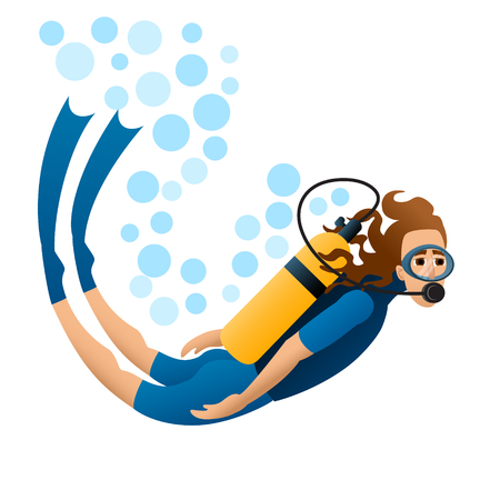 Scuba diver floats in water. Isolated image. White background. Vector illustration