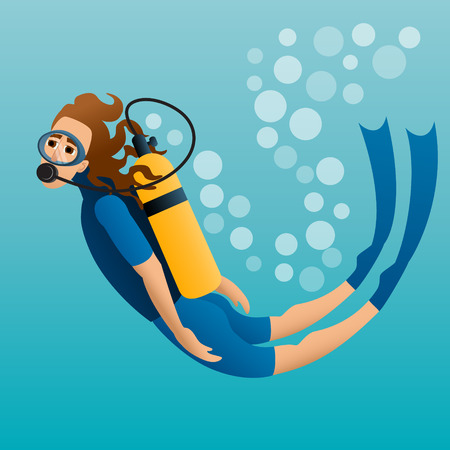 Scuba diver floats in water. Vector illustration Çizim