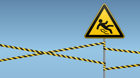 ice slide: Caution - danger Beware of slippery. Safety sign. The triangular sign on a metal pole with warning bands. Industrial Design. Vector illustration.