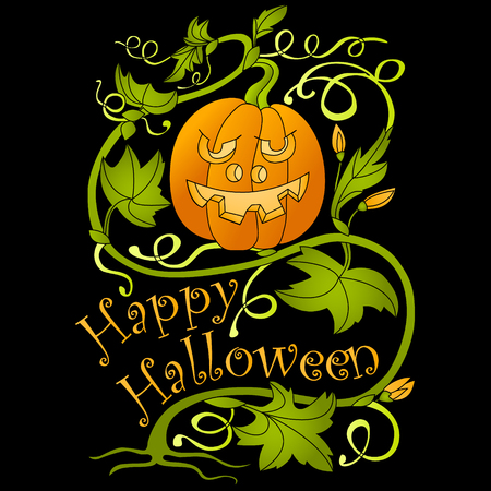Halloween. Pumpkin and greeting inscription. Vector illustration