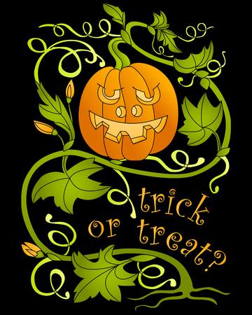 Halloween. Pumpkin and greeting inscription. Vector illustration