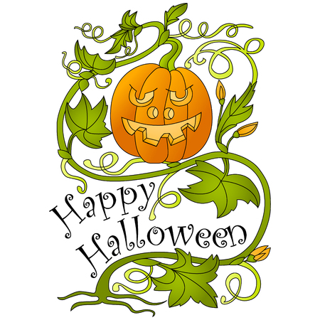 all saints day: Halloween. Pumpkin and greeting inscription. White background. Vector illustration