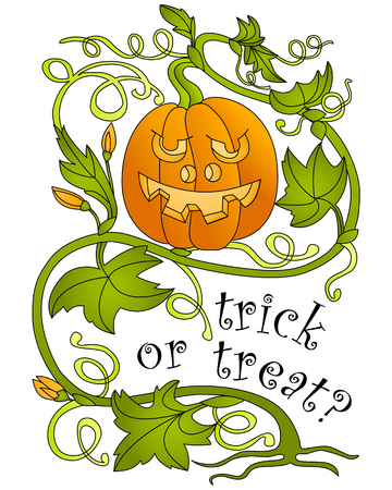 Halloween. Pumpkin and greeting inscription. White background. Vector illustration