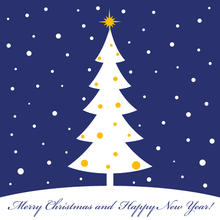 christmas budget: Merry christmas and a happy new year. Winter story. Fir tree and snow. The flat image. Vector illustration.
