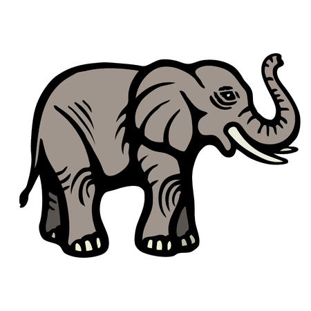 Elefante. Immagine piatta. Oggetto isolato. Sfondo bianco Illustrazione vettoriale