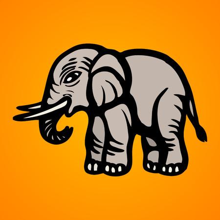 Elefante immagine piatta isolato oggetto illustrazione vettoriale Archivio Fotografico - 82193250