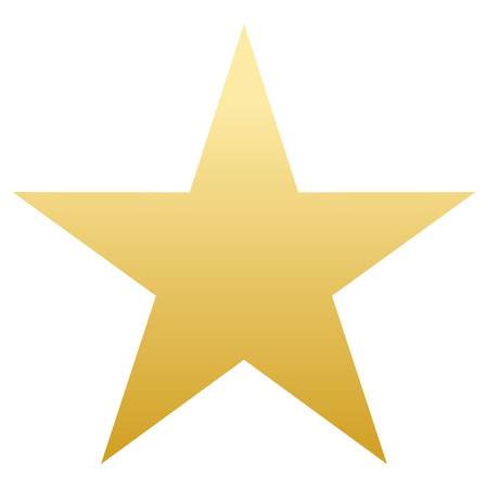 Golden Star. Flat simple form. white background. isolated object. vector illustration
