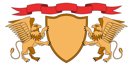 Griffins holding a shield. Shield with ribbon. Heraldry. Medieval emblem. Vector Iillustration Ilustracja