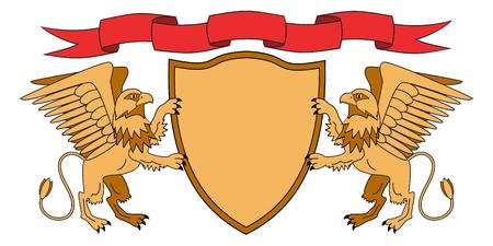 Griffins tenant un bouclier. Bouclier avec ruban. Héraldique. Emblème médiéval. Illustration vectorielle Banque d'images - 82406847