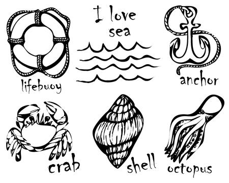 Graphic drawings of marine animals.
