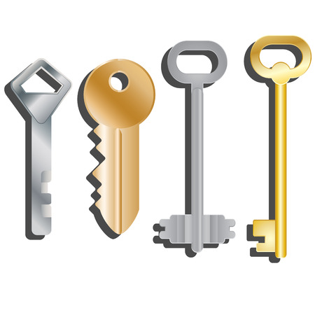 finnish: Set of different keys. Isolated objects. Vector illustration Illustration