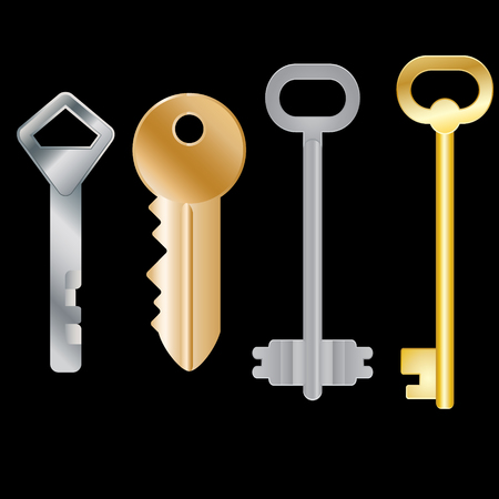 Set of different keys. Isolated objects. Vector Image. Illustration