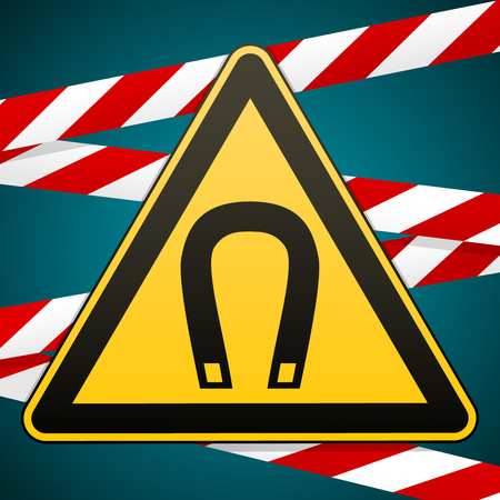 Safety sign showing danger Magnetic field with Barrier tape in the background Фото со стока - 82625383