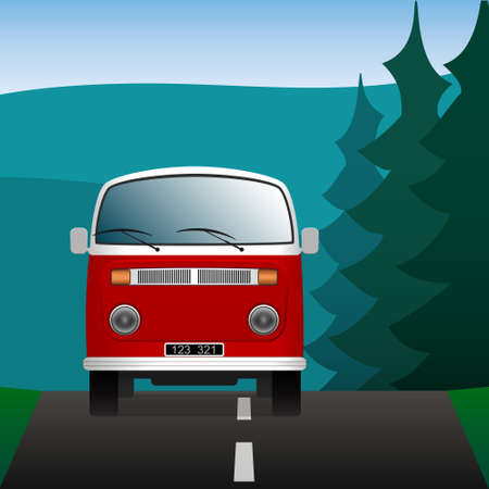 moving truck: Minibus on a forest road. Transport in the landscape. Vector illustration.