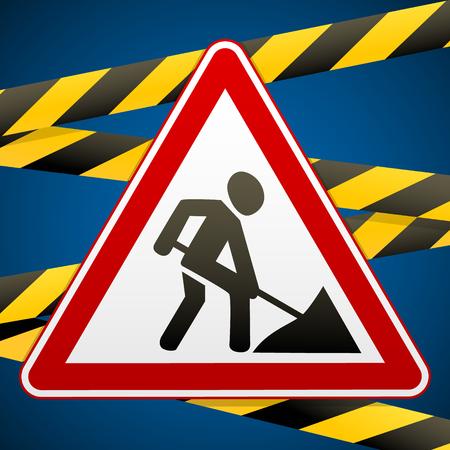 Schilder Reparaturarbeiten und Schrankenbänder. Vektor-Illustration.
