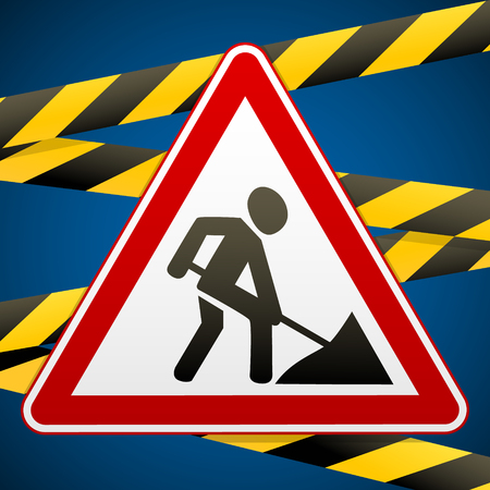 Sign repair works and barrier tapes. Vector illustration. Illustration