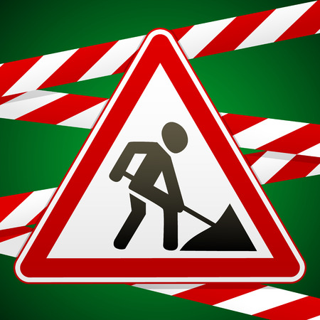 screen savers: Sign repair works and barrier tapes. Vector illustration. Illustration
