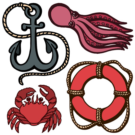 Ship s anchor, lifebuoy and marine animals.